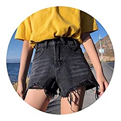 Northesther Summer Women Mini Denim Shorts High Waist Ripped Casual Tassel Denim Blue Shorts Femme 2019 Pockets Jeans Shorts For Women Black L