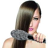 Pursonic HBS180  Instant Detangling LED  Hair Straightener Brush - Best Ceramic, Anti Static, Electric Heating Detangling Hair Brush (Zebra)