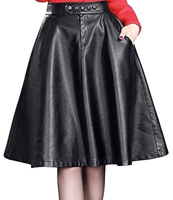 chouyatou Women's Elastic Waist Front-Button A Line Flared Pu Leather Midi Skirts