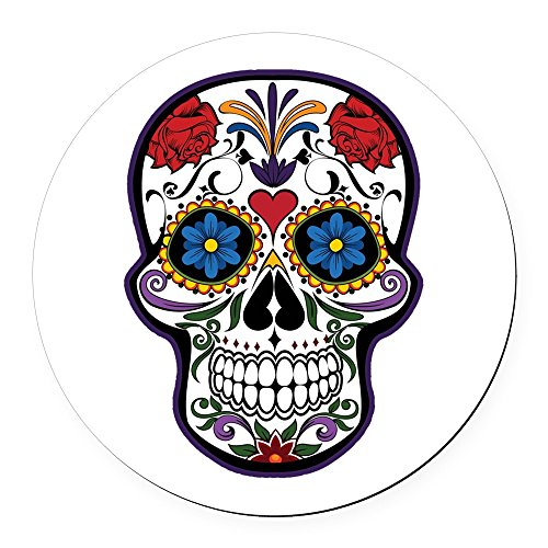 Round Car Magnet 5.5 Inch Floral Sugar Skull Day of the (Latina Halloween Makeup)