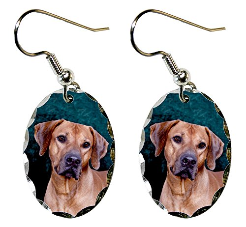Canine Designs Rhodesian Ridgeback Scalloped Edge Oval Earrings