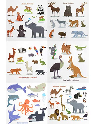 Fiomia Adorable Animals Temporary Tattoos Ocean Forest Asian Australian African South American Cartoon Sticker Face Decal Body Glitter for Children Kids Girls Waterproof Removable 64Designs 6Sheets -