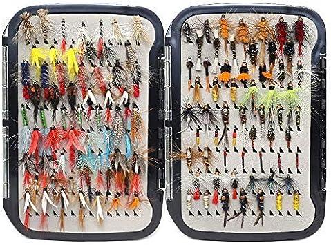 YZD Fliegenfischen Fliegen 225//194//180//110//60 Premium-Fliegen Trocken Nass Nymphe Luftschlangen mit Fly Box Fliegenfischen Fliegen lockt Kits