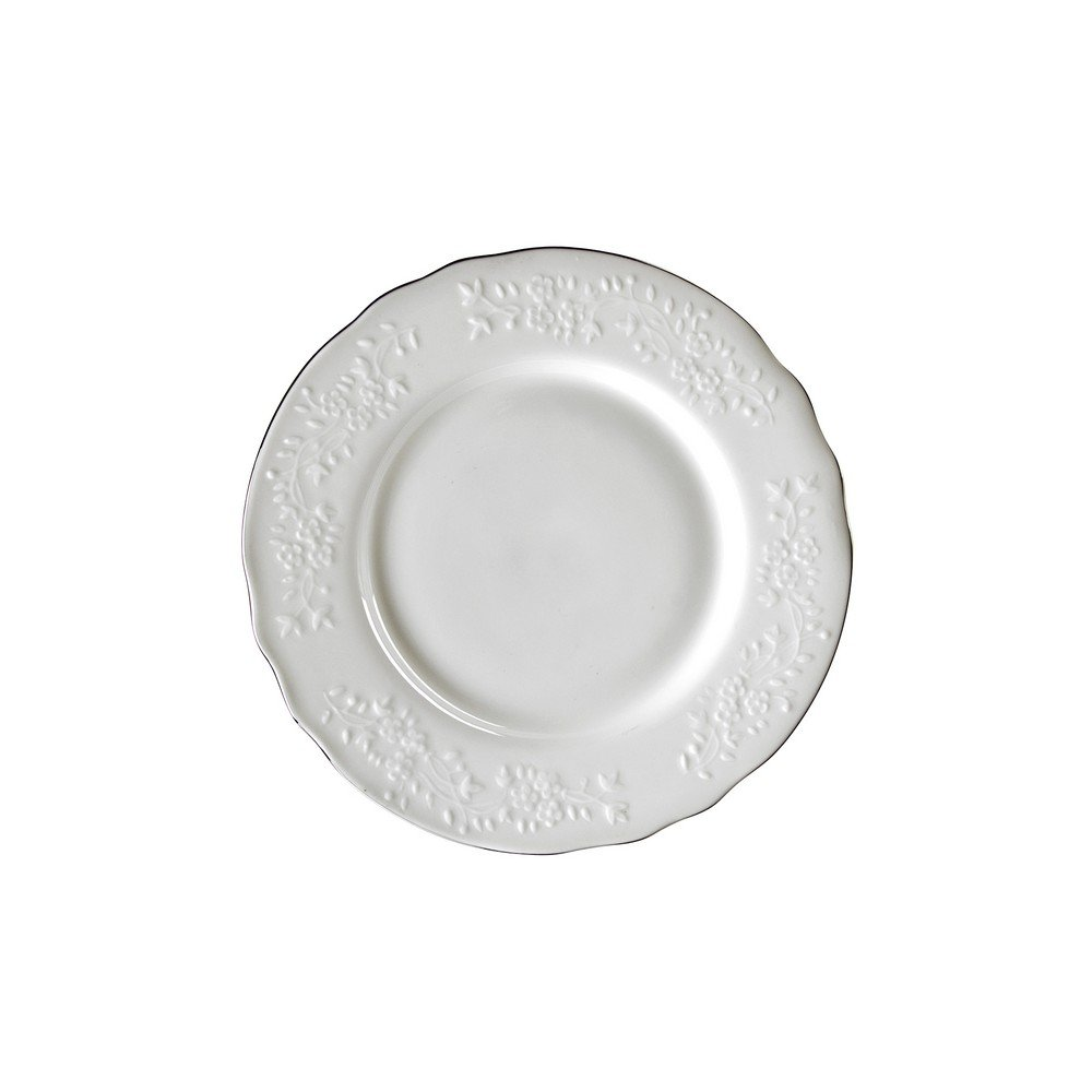 10 Strawberry Street Vine Silver Line 3'' Bread & Butter Plate, Set of 6, White/Silver