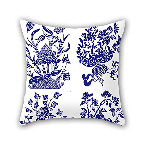 Chinese Style Blue And White Porcelain Pillow Cases Best For Play Room Christmas Deck Chair Car Shop Floor 20 X 20 Inches / 50 By 50 Cm(double (Porcelain Makeup Halloween)
