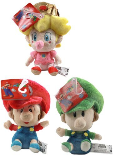 Super Mario Brothers 5'' Plush Baby Set Of 3: Mario, Luigi, Peach by Little Buddy LLC