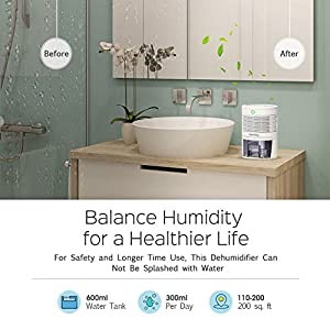 Homasy Mini Dehumidifier, 2200 Cubic Feet (220 sq ft) Compact and Portable 600ml (19 oz) Capacity Quiet Auto Off for Home, Kitchen, Bedroom, Bathroom, Basement, Caravan, Office, RV, Garage