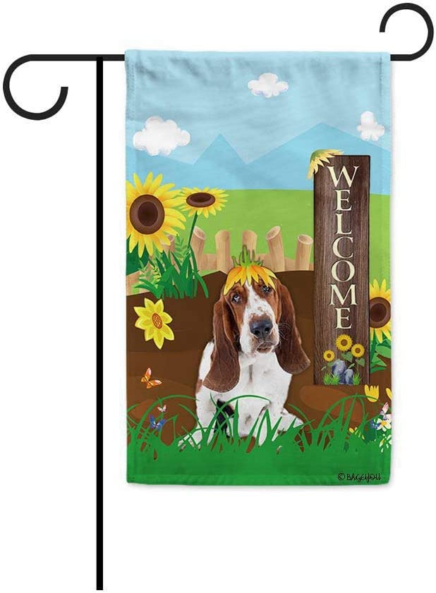 BAGEYOU Welcome Summer Sunflower Dog Garden Flag Basset Hound Playing on a Country Farm Butterfly Flowers Decor Banner for Outside 12.5x18 Inch Print Double Sided