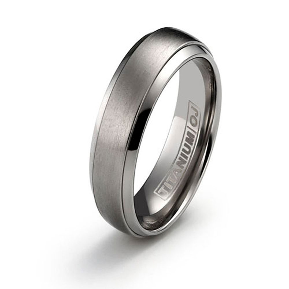 6mm Titanium Ring for Couples Brushed Center Polished Edge Comfort Fit Size 6 Free Engraving Service