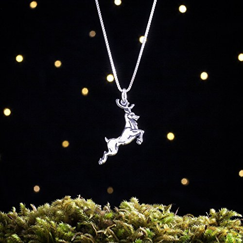 Sterling Silver Leaping Reindeer - House Baratheon Stag - Double Sided - (Pendant or Necklace) (Sterling Crest Pendant Silver Solid)