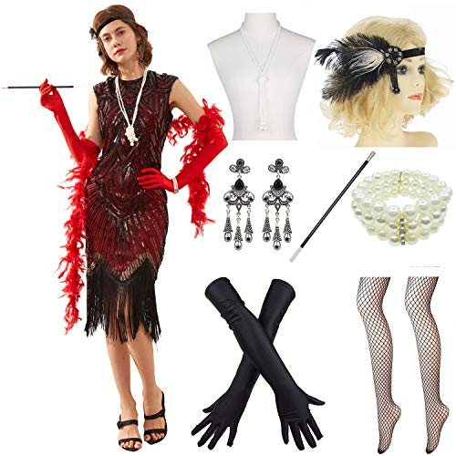 (Women 1920s Vintage Flapper Fringe Beaded Gatsby Party Dress with 20s Accessories Set Black Red)