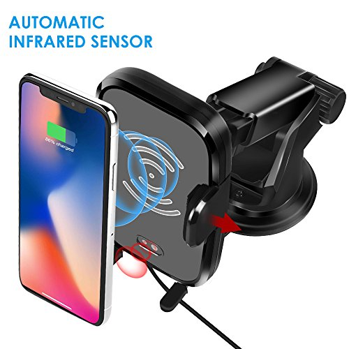 Wireless Car Charger, Automatic Induction Wireless Charger Car Mount Air Vent Holder Fast Charging for Samsung Galaxy S9 S9 Plus S8 S7/S7 Edge Note 8 Standard Charge for iPhone X 8/8 Plus & Other Qi E ()