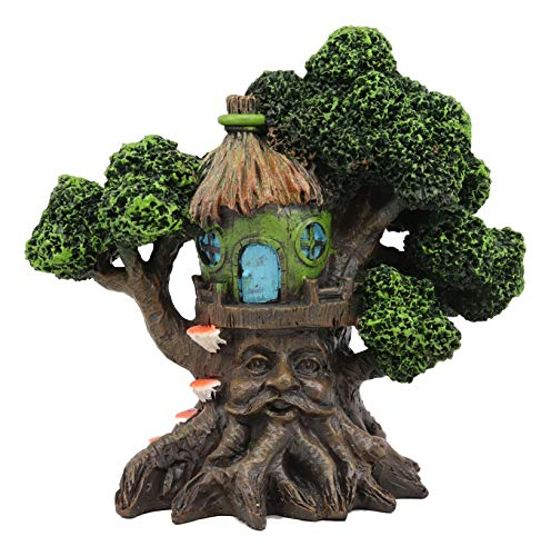 Ebros Whimsical Forest Ent Greenman Cottage Nook Green Hut Tree House Statue with Mushroom Conk Steps 6.5
