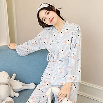 NVYISHUI Kimono Japonés Pijamas Mujeres Otoño Algodón de Manga Larga Sección Delgada Primavera Y