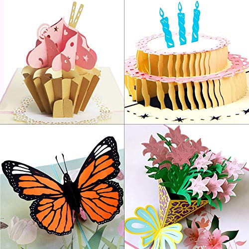 3D Pop Up Greeting Cards By Aloha Cards | For Birthdays, Thank You, All Occasions/Packaged with Envelope Protective Bag (4 Pack: Butterfly, Lily Bouquet, Cupcake, Birthday Cake)