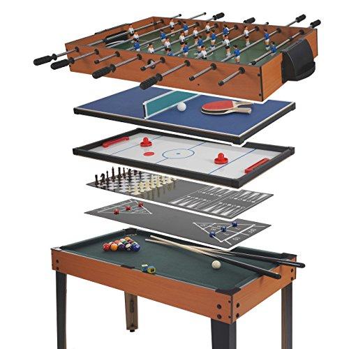 Tischkicker Wakefield, Tischfussball Billard Hockey 7in1 Multiplayer Spieletisch, 82x107x60cm