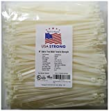 "8"" Cable Ties. Premium Nylon Wire Management Zip-ties. Several colors available in 1,000 piece pack or Bulk Wholesale Case Quantity. 50 LB Tensile. USA Strong Cable Ties (8'' 1000 Pack, White)"