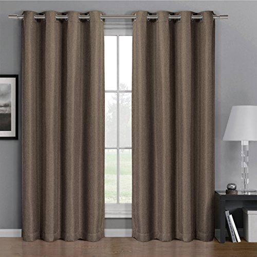 Gulfport Taupe Grommet Faux Linen Blackout Weave Window Curtain Panels, 52x108 inches Single Panel, by Royal Hotel