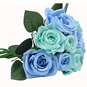 Houda Artificial Silk Fake Flowers Rose Floral Decor Bouquet,Pack of 2 14