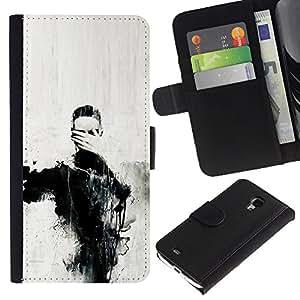 Arte Ojos Pintura Mano Carbón- la tarjeta de Crédito Slots PU Funda de cuero Monedero caso cubierta de piel Para Samsung Galaxy S4 Mini i9190 (NOT S4)