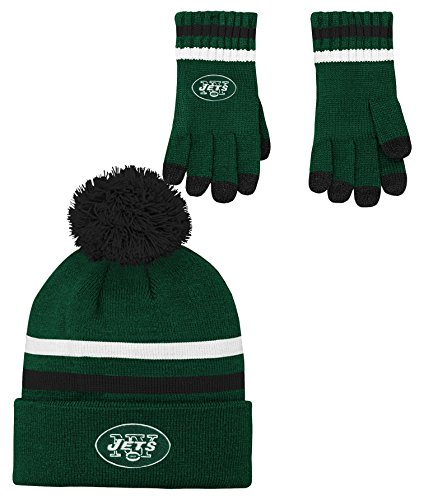 NFL Youth Boys (8-20) 2 Piece Knit Hat and Gloves Set-Hunter, New York Jets-One Size