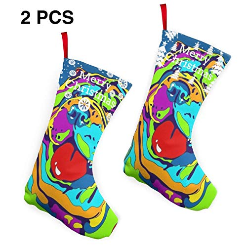 Love Gong Multi-Color Shar Pei Dog Christmas Stocking Gift Xmas Hanging Stocking Mantel Decoration Party Holiday Ornament
