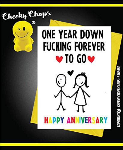ANNIVERSARY CARD Valentines Love Funny One year down A11 Cheeky Chops Cards