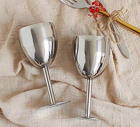 Bingpong 2 copas de vino de acero inoxidable 304 de 170 ml/240 ml de 170 ml, vino tinto, champán, brandy, cócteles, bar, boda, fiesta, cocina, suministros (170 ml)