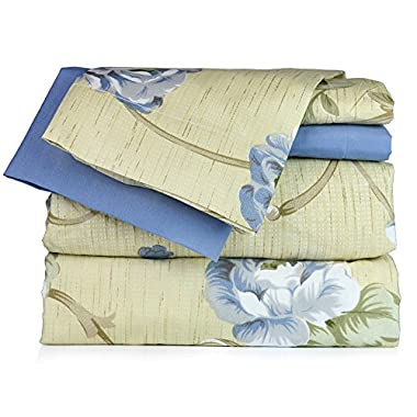 Dor Extreme Super Soft Luxury Floral Bed Sheet Set in 6 Prints, Queen, 6 Piece, Blue