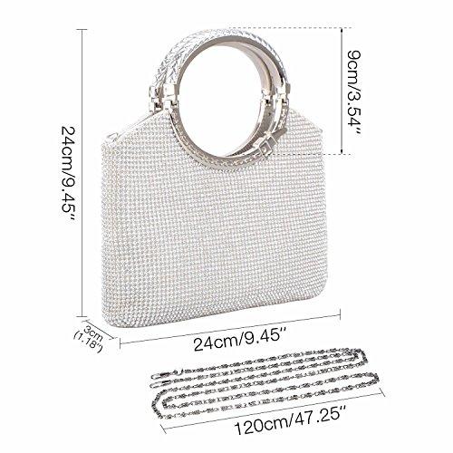 Silver Clutch Evening Rhinestone Crystal Wedding Bags Purses Clutch Handbag Party Womens Kisschic CSPqHH
