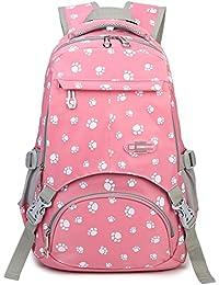 ba4bcabc4406 Girls School Bags for Kids Elementary School Backpack Bookbags for Child  (Pink)