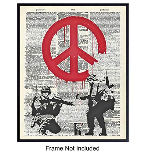 Banksy Graffiti Dictionary Art Print - Funny Vintage Upcycled Wall Art Poster- Modern Chic Home Decor for Living Room, Office, Man Cave - Gift for Street Mural Fans, Military Soldiers - 8x10 Photo