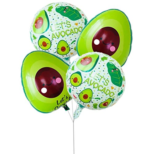 4Pcs Foil Balloons Avocado Pattern Mylar Helium Balloons Birthday Party Decorations (Round2 and Oval2)