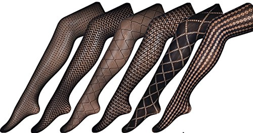 Chirrupy Chief Assorted-Pack Patterned Fishnet Pantyhose 3 Designs Per L XL XXL (XL, BlackX6-1) by Chirrupy Chief (Image #1)