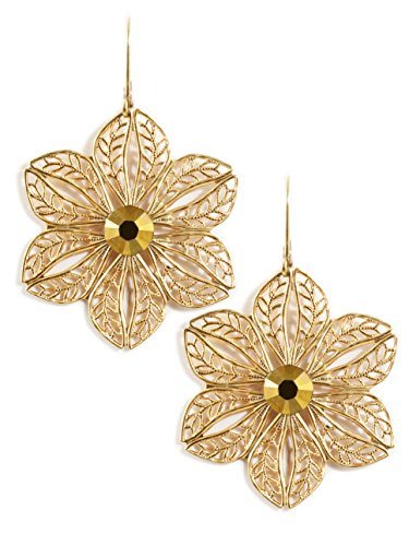 Clara Beau GoldAur Swarovski Glass Crystal Goldtone Flower Filigree Earrings E881 G-Aur]()