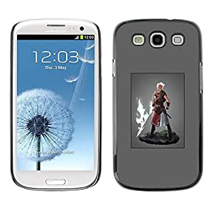 LECELL--Funda protectora / Cubierta / Piel For Samsung Galaxy S3 I9300 -- Hero Man Super Power Fire Sword Blonde --