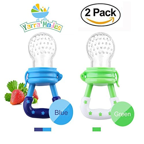 Baby Fresh Food/Fruit Silicone Feeder Teether Pacifier with Handgrip for Boys and Girls 2 PCS (6-12 Months, Blue,Green)