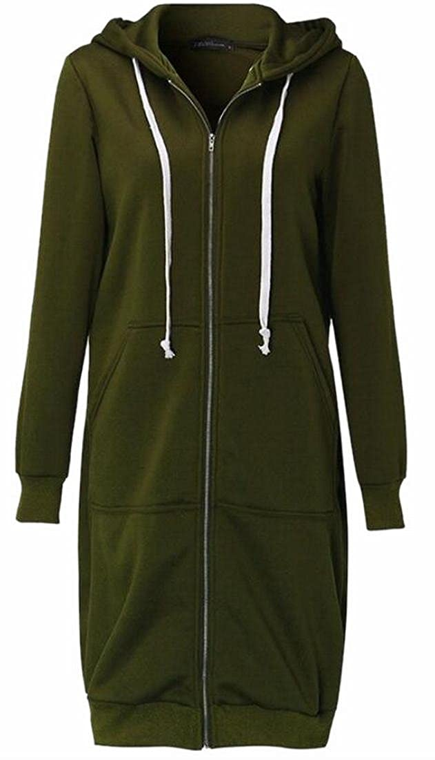 FLCH+YIGE Women Casual Zip up Fleece Hoodies Tunic Sweatshirt Long Hoodie Jacket