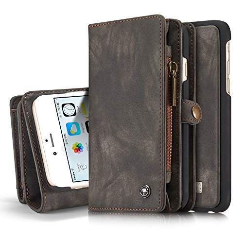 Leather Wallet Phone Case Card Holder Detachable Magnetic Slim Case with Zipper Storage , Gray , For 5.5 inches (iPhone 6 Plus / 6S Plus)