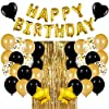 Best Epic Trends 51qYDnBNUCL._SS100_ JOYYPOP Black and Gold Birthday Party Decorations Set with Happy Birthday Balloons Banner, Confetti Balloons, Foil…