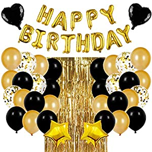 Best Epic Trends 51qYDnBNUCL._SS300_ JOYYPOP Black and Gold Birthday Party Decorations Set with Happy Birthday Balloons Banner, Confetti Balloons, Foil…