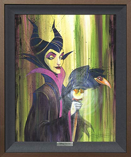Disney Fine Art Maleficent The Wicked by Stephen Fishwick Frame Dimensions 24.25 Inches x 20.25 Inches Sleeping Beauty Villain Silver Series Reproduction Limited Edition on Canvas Framed Wall Art