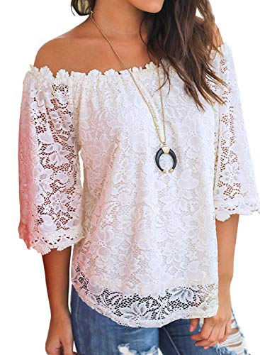 MIHOLL Women's Lace Off Shoulder Tops Casual Loose Blouse Shirts (White, - Shirt Blouse White