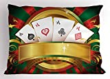 Lunarable Poker Tournament Pillow Sham, Luxury Gambling Fortune Playing Cards Hand Casino Roulette Winning Print, Decorative Standard King Size Printed Pillowcase, 36 X 20 inches, Multicolor
