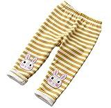 Kids Girls Fleece Pants Rabbit Strip Leggings Tights (Yellow, 6T-7T)