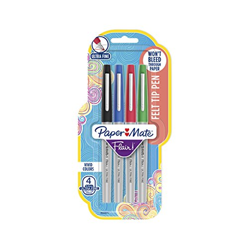 Paper Mate Flair Felt Tip Pens, Ultra Fine Point (0.4mm), Assorted Colors, 4 Count ()