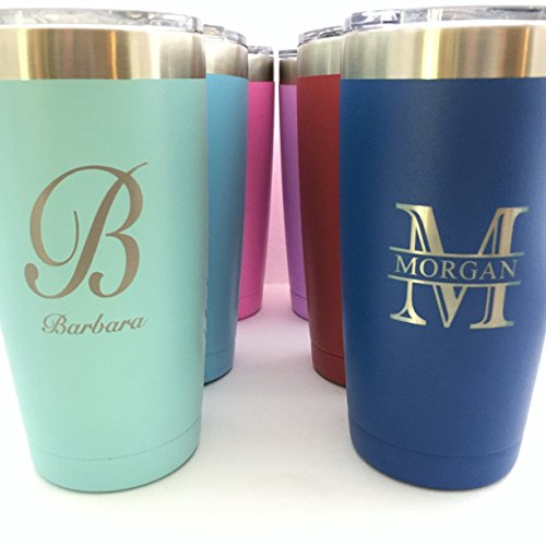 Monogrammed Tumbler - Monogrammed Insulated Tumbler 20oz Choose Your Color Personalized
