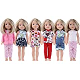 Anxi 5 Wellie Wishers Clothes Fit 14 inch American Girl Doll Include Dress,Coat