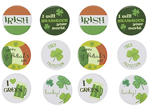 Blue Lock Badge (Button Pins - 12-Pack of St. Patrick's Day Pins, Irish-Themed, Glow-In-The-Dark Pins for St. Patty's Day Display, Pins for Men and Women, 6 Assorted Designs, 3 of Each)