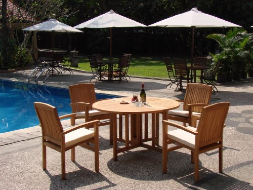 New 5 Pc Luxurious Grade-A Teak Dining Set – 48″ Round Butterfly Table And 4 Wave Stacking Arm Chairs #WHDSWV1 For Sale